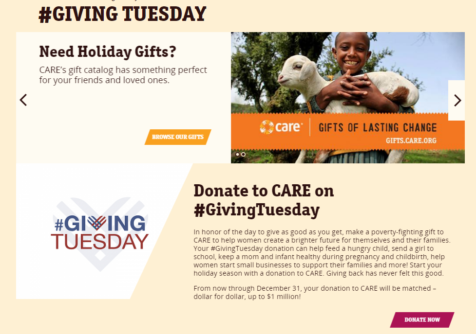 care donation page example